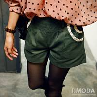 『1129新品 簡單生活~布蕾絲花邊口袋棉質短褲‧2色』