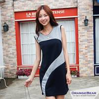 『0814新品 時尚流行~圓領拼接感撞色修身背心洋裝.2色』