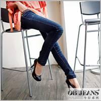 『0702新品 美體keep~嚴選水洗刷色拼接豹紋造型窄管牛仔褲』