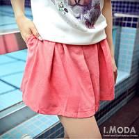 『0429新品 輕調自在~細褶造型輕透感棉麻短褲裙.3色』