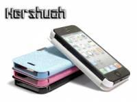 iPhone5皮套 超薄十字紋 側翻式手機保護套 磁扣設計