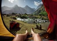 不一樣的景色!帳篷外的早晨風光