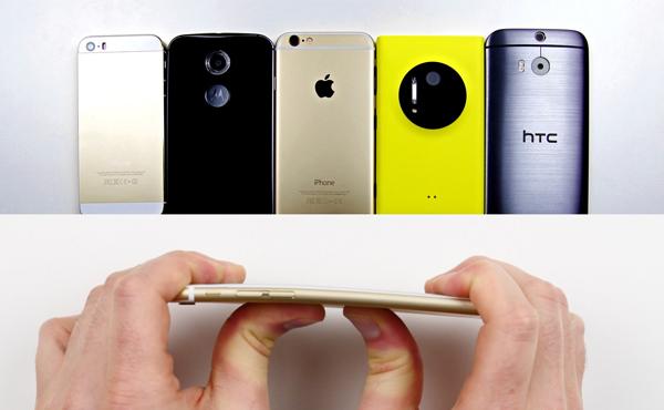 iPhone 6 Plus 彎曲疑團: iPhone 6 / 5s / One M8 / Moto X / Nokia 屈曲比拼 [影片]