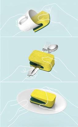 鴨嘴型菜瓜布,碗盤邊緣清潔輕鬆克服!