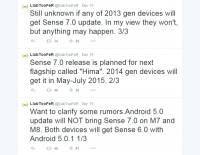2014 年度 HTC 主力機種將先升級 Android 5.0 ,至於 Sencse 7 則要等到明年五月