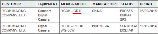 Ricoh Image GR II 在印尼申請認證,可能於近期推出