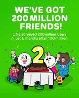 LINE用戶破兩億,熱門貼圖限時免費下載中