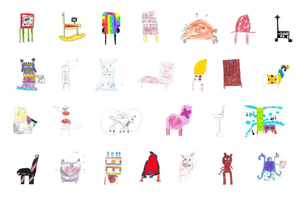 把小朋友認真設計的塗鴉家具實體化