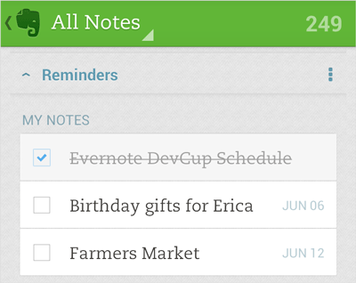 Evernote 的「提醒功能」正式登陸 Android!
