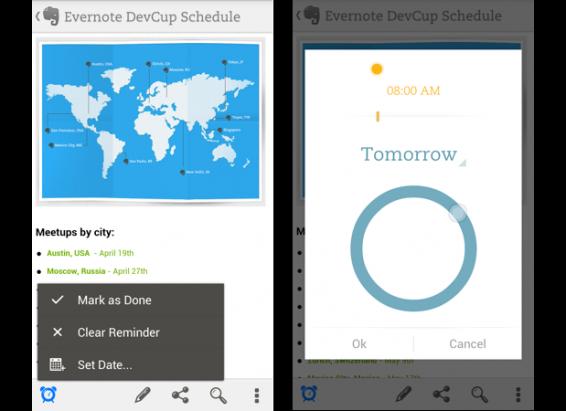 Android 和 Windows Phone 版的 Evernote 都終於得到 Reminders