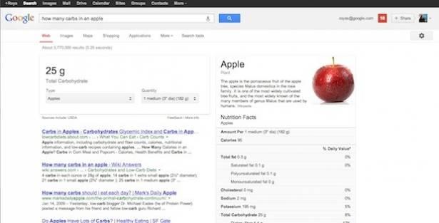 Google 將過千項食物營養資訊帶到搜尋結果