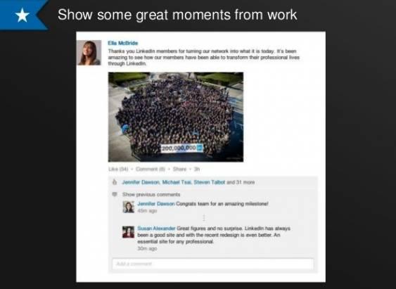 LinkedIn 的近況終於可加圖片等非文字的東西了