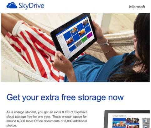 如果你是學生,那就來取走 3GB 免費的 SkyDrive 容量吧!