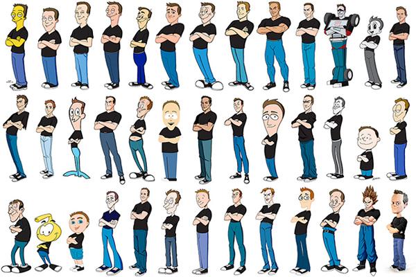 以近兩年的時間,來完成100 種卡通風格的自畫像