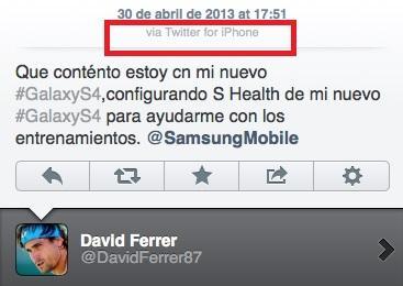 知名網球選手在推特上說他使用三星Galaxy S4幫助他做訓練,但……訊息是從iPhone發出來的