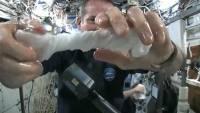 在太空中將溼毛巾擰乾會是怎樣的情形