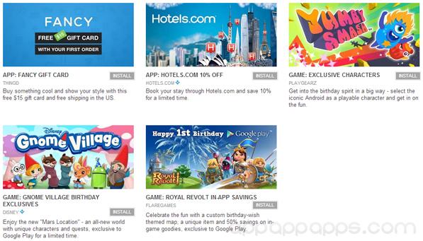 Google Play開幕一週年, 送出多款免費優惠
